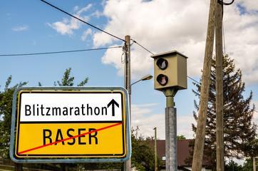 Ortstafel Blitzmarathon/Raser