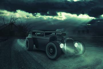 Hotrod in dramatischer Nacht