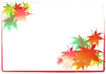 カエデ、楓、秋、紅葉、枠、フレーム、背景素材、イラスト、