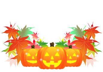ハロウィン、日本、もみじ、紅葉、秋、イベント、和風、和、かぼちゃ、カボチャ、Halloween