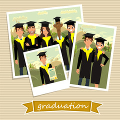 Photo friends at the graduation. vector illustration.