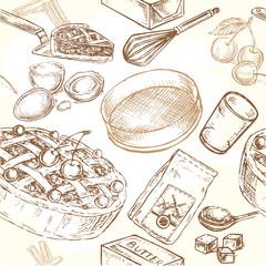 seamless pattern cooking illustration