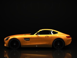 Sports car left view. The image of a sports gold car on a black background.