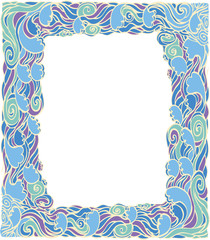 Frame with abstract wave decoration.Vector  background