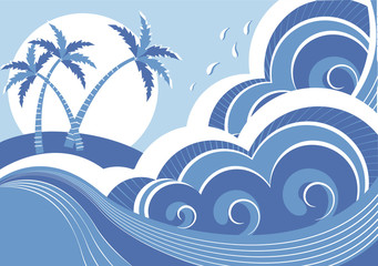 sea waves and island. Vector graphic illustration of water seasc