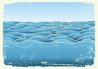 Blue waves.Vector grunge image of Sea background for design