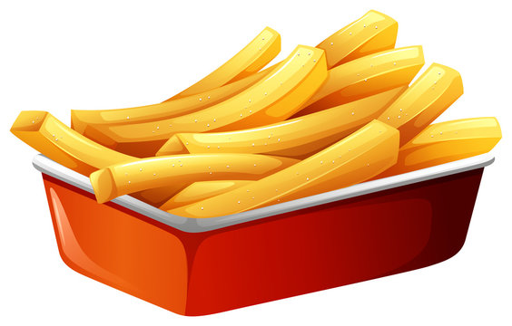 French fries in red tray