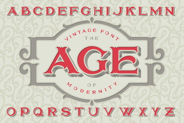 "Vintage font ""The Age of Modernity"". Stylish retro art-nouveau typeface with engraved technique embossing. With decorative ornate frame."