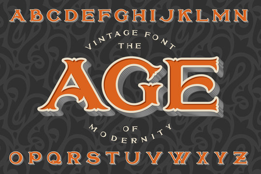 """Vintage font """"The Age of Modernity"""". Stylish retro art-nouveau typeface with engraved technique embossing. With dark seamless pattern on background."""