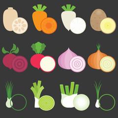 Vector Flat Design Vegetables icons set 1