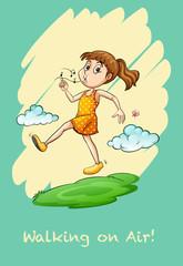 Girl walking in air .whistling