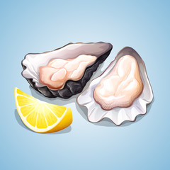 Oyster with a piece of lemon.