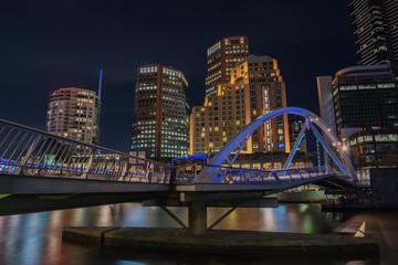 Night time, Pedestrian Bridge, Melbourne city, Victoria, Australia.