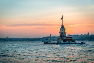 Kiz kulesi or Maiden's tower at sunset in Istanbul, Turkey