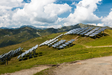 environment friendly solar panel installation in the mountains in austria