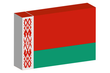 3D Isometric Flag Illustration of the country of  Belarus