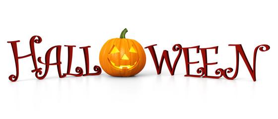 Halloween - carved pumpkin - illuminated - banner
