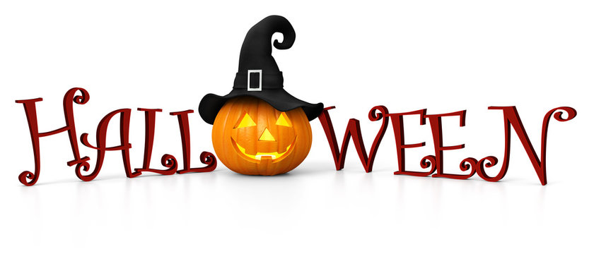 Halloween - carved pumpkin with witch hat - illuminated - banner