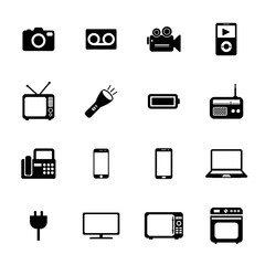 Electronic device icons. Electronic icon. Vector. Silhouette. Bl