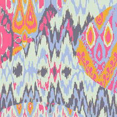 Colored seamless ethnic vector print pattern