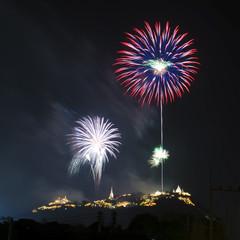 Fireworks in dark sky.  Phra-na-korn-kri-ri at Petchaburi, Thailand. Taken on Febury 23, 2013.