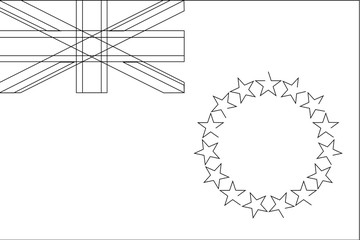 Skeleton  Flag Illustration of the country of  Cook Islands