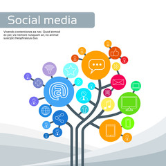 Technology Tree Social Media Icons Thin Line Logo Set
