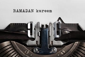 ramadan written by old typing machine on paper