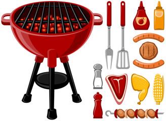 BBQ design elements set in vector format.