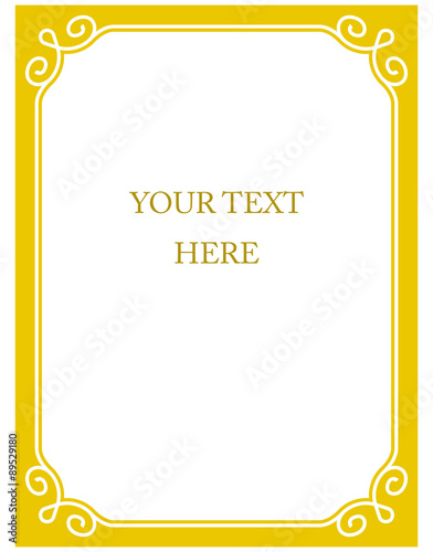 Simple yellow vector line border frame isolated illustration\