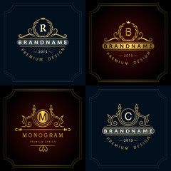 Monogram design elements, graceful template. Calligraphic elegant line art logo design. Letter emblem B, R, M, C for Royalty, business card, Boutique, Hotel, Heraldic, Jewelry. Vector illustration
