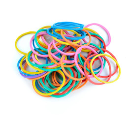colorful elastic rubber bands isolated on a white background