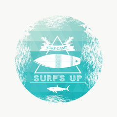 Surfing summer icon, vector label.