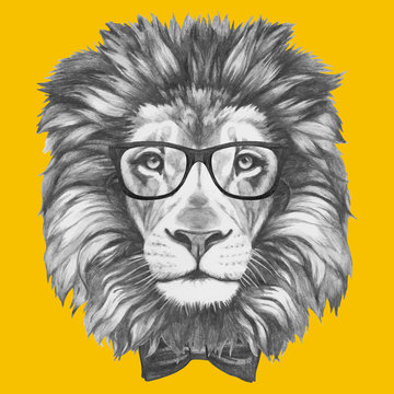Hand drawn portrait of Lion with glasses and bow tie. Vector isolated elements.