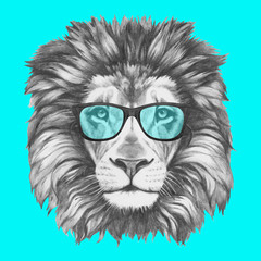 Hand drawn portrait of Lion with glasses. Vector isolated elements.