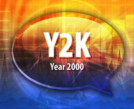 Y2K acronym definition speech bubble illustration