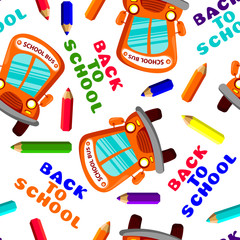 back to school seamless pattern with school bus and pencils. Vector illustration