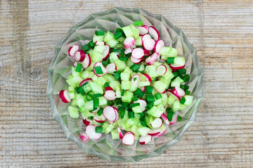 Fresh spring salad with cucumbers, green onion and radish