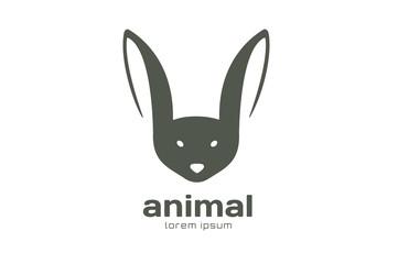 Abstract animal face logo vector template. Rabbit, bat mascot