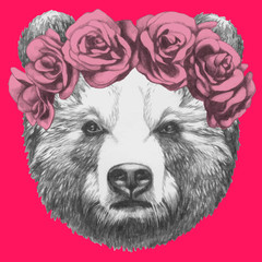 Hand drawn portrait of Bear with floral head wreath. Vector isolated elements.