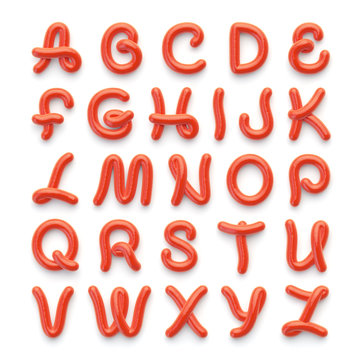 Alphabet with letters made of spicy tomato sauce