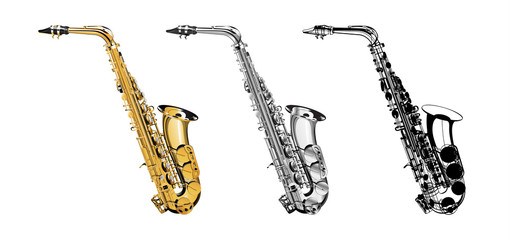 Vector Illustration saxophone isolated object on a white background, three kinds of golden, saxophone in shades of gray and a saxophone in a black contour. Illustration for mounting any illustrations