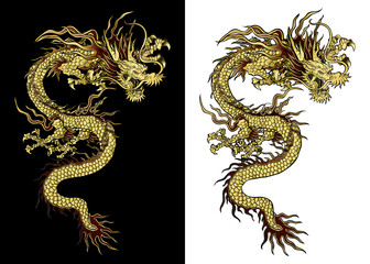 vector illustration Traditional Chinese dragon gold on a black background and a white background. Isolated object. Template design is suitable for any illustrations.
