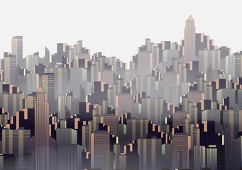 Modern City Skyline Landscape with Skyscraper Offices  - Vector Illustration