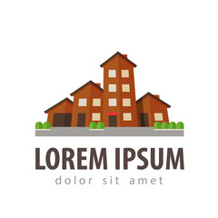 house, settlement, village, township vector logo design template