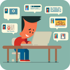 Cartoon young man sitting at a table and chatting online with friends using laptop. Sharing music, video, photos, interesting places.