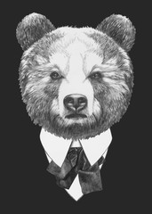 Portrait of Bear in suit. Vector