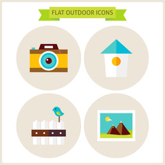 Flat Nature Outdoor Website Icons Set