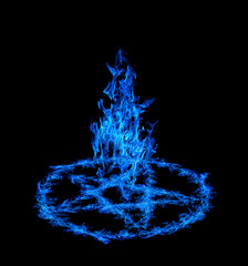 blue fire pentagram isolated on black