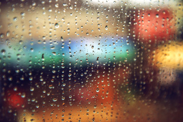 Rain drops on the window. Abstract color texture background